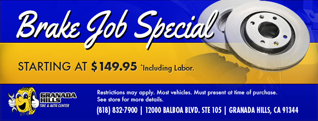 BRAKE JOB SPECIAL STARTING AT $149.95